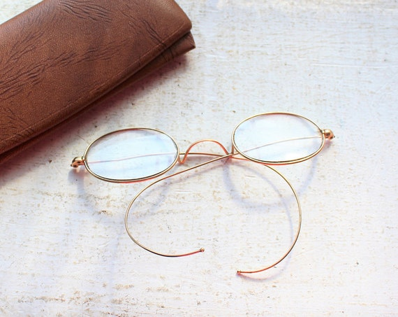 Antique Eyeglasses with Case Granny Spectacles