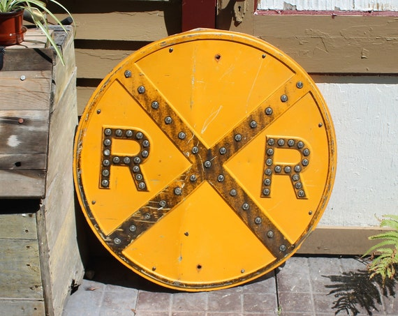 Antique Railroad Crossing Round Steel Sign with Reflector Marbles