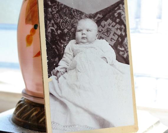 Antique Carte De Visite Photograph Victorian Chubby Cheeked Baby 1800s