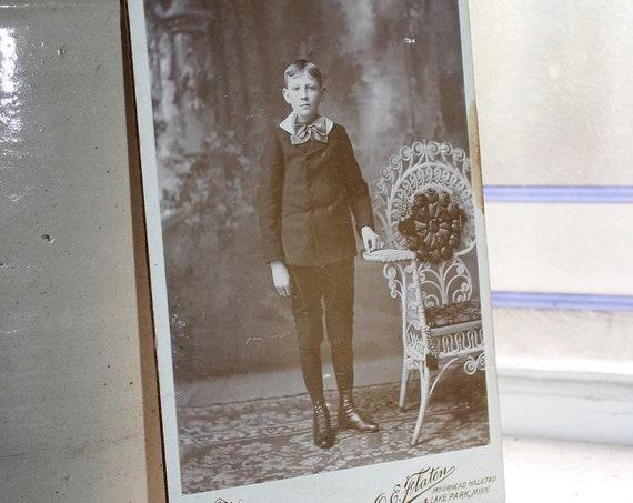 Antique  Cabinet Card Photograph Victorian Boy Mr. Fancy Pants