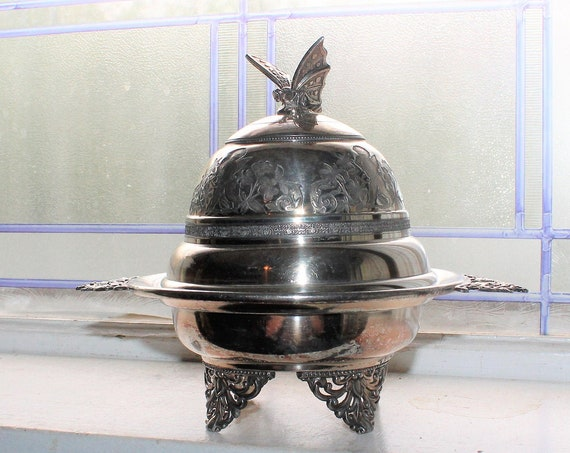 Silverplate Butter Dish with Butterfly Finial Antique 1800s