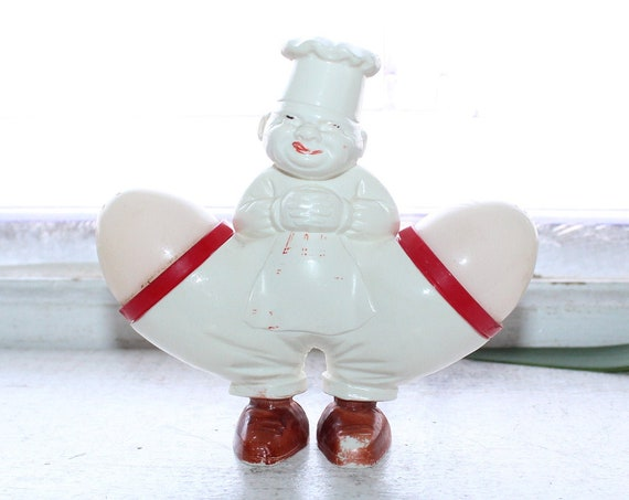 Vintage Salt and Pepper Shakers with Chef Holder 1930s Germany