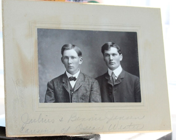 Vintage Cabinet Card Photograph Handsome Victorian Brothers 1800s