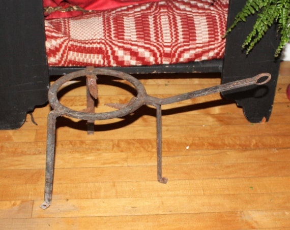 Primitive Antique Iron Hearth Stand Fireplace Pot Rack Rustic Decor