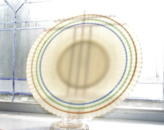 Petalware Cremax Large Plate Pastel Bands Vintage Macbeth Evans 1930s