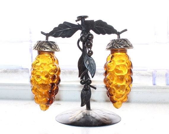 Vintage Salt Pepper Shakers Amber Glass Hanging Grapes with Vine Stand