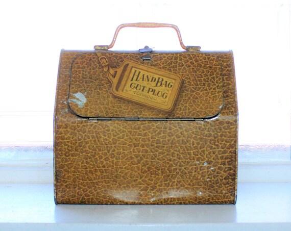 Antique Hand Bag Cut Plug Tobacco Tin 1920s