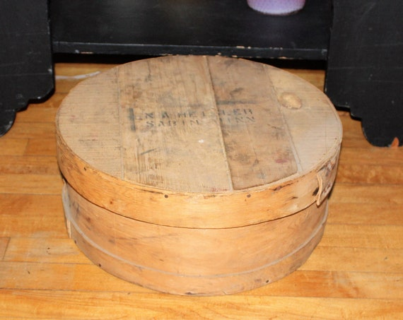 Antique Wood Cheese Box Large Round Storage w/ Lid