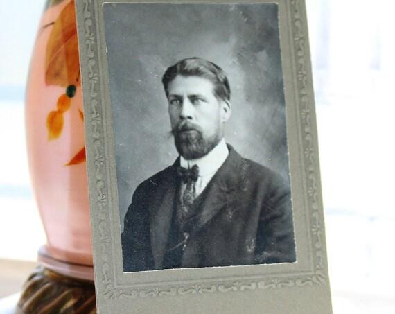 Antique Carte De Visite CDV Photograph Victorian Man with Beard 1800s