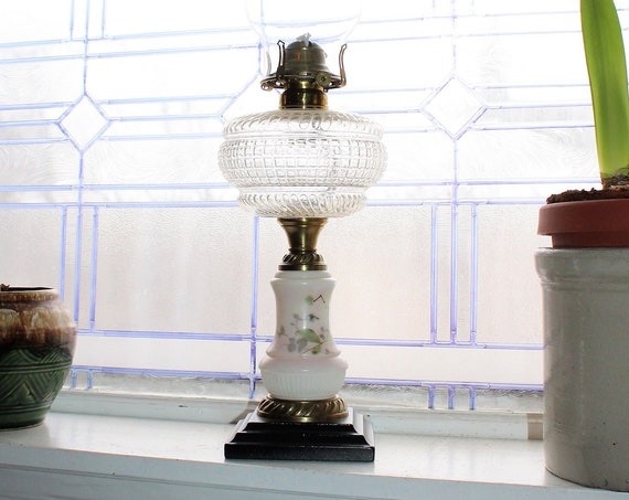 Antique 1800s Victorian Oil Lamp 1800s Glass & Cast Iron Restored