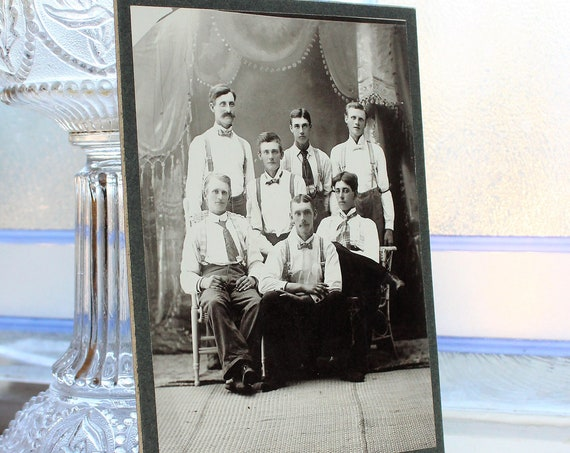 Antique Cabinet Card Photograph Group of Young Victorian Men 1800s