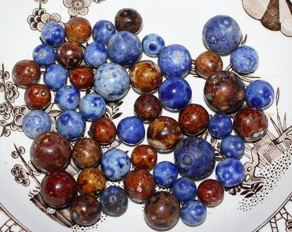 51 Antique Bennington Pottery Marbles Brown and Blue Circa Late 1800s