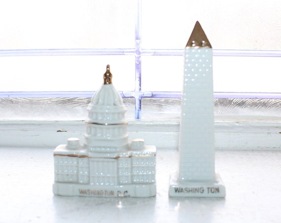 Vintage Salt and Pepper Shakers Washington Monument and Capital Bldg