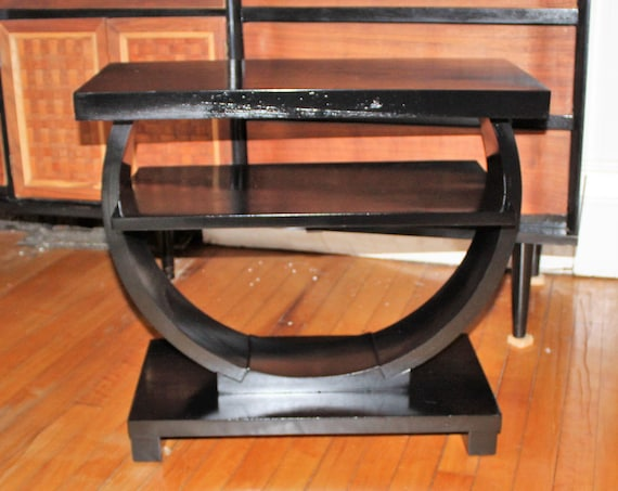 Art Deco Modernage Side Table Black Vintage 1930s Geometric Ring Table