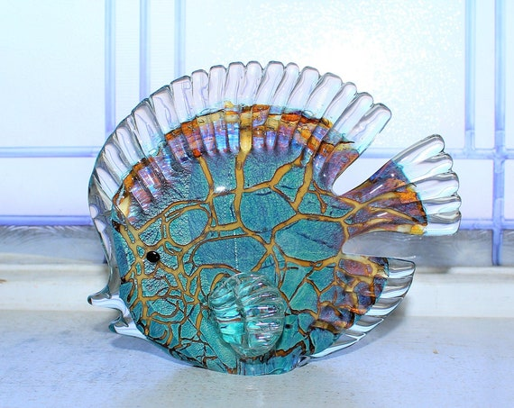 Murano Art Glass Angel Fish Figurine Blue and Copper Vintage 1950s