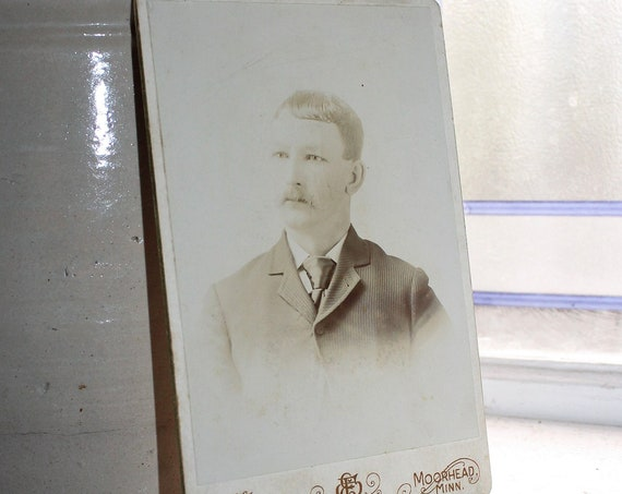 Vintage Cabinet Card Photograph Edwardian Man with Mustache