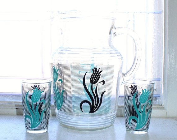 Mid Century Glass Pitcher and 2 TumblersBlack & Turquoise Tulips