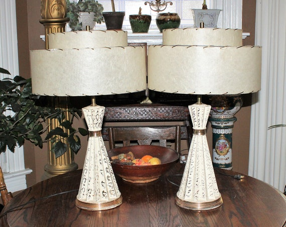 Vintage Mid Century Table Lamp Pair White & Gold 1950s 2 Tier Shades