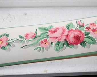 Vintage 1950s Wallpaper Border American Beauty Dex Brand Unused Wall Paper