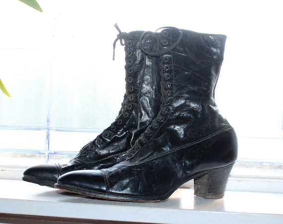 Victorian Witch Shoes Antique 1900s Black Lace Up Edwardian Steampunk