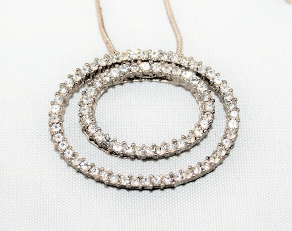 Vintage Necklace Double Rhinestone Ovals Premier Designs