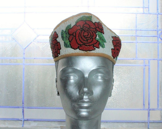 Antique Beaded Iriquois Headdress Head Band with Roses