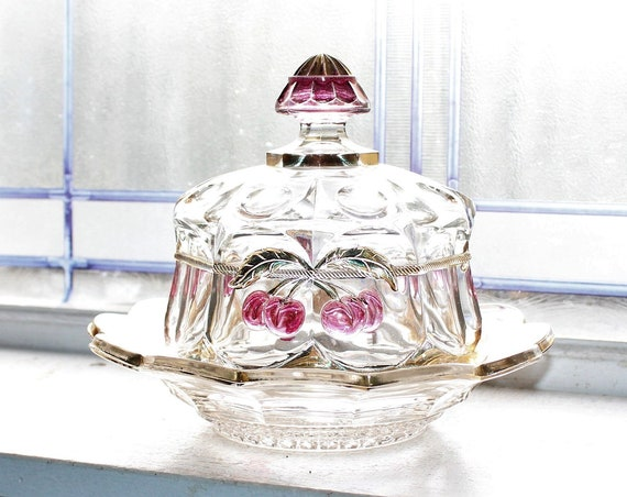 Northwood Glass Cherry and Cable Round Butter Dish Antique EAPG