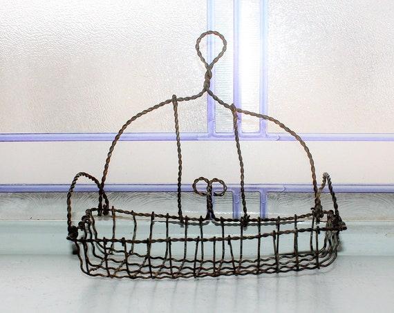 Antique 19th Century Wire Soap Holder Victorian Fine Twisted Wire Ware