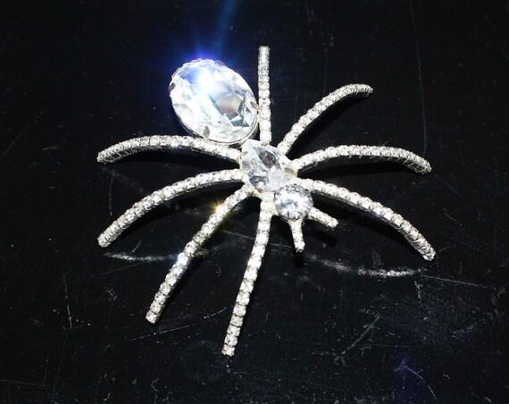 """Large Vintage Rhinestone Spider Pin Brooch Louis Stern 3 3/4"""""""