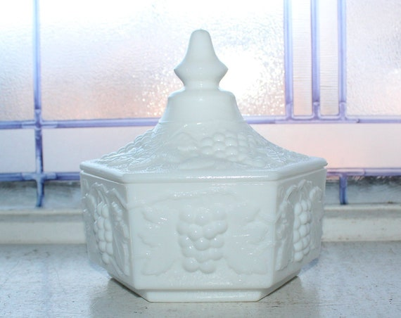 Vintage Imperial Milk Glass Covered Box Jar Candy Dish Grape Pattern
