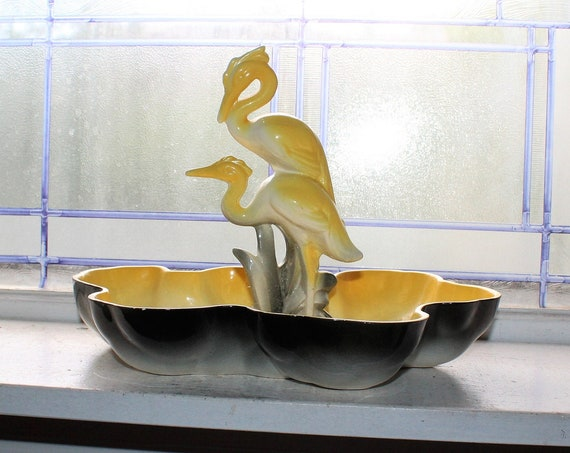 Mid Century California Pottery Yellow Heron in Pond