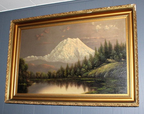 Eliza Barchus Antique Painting Mt Rainier Oil On Canvas 36 x 22