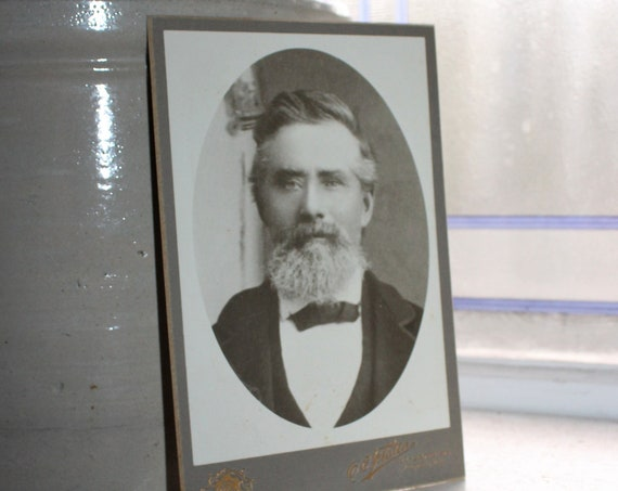 Vintage Cabinet Card Photograph Victorian Man with Beard