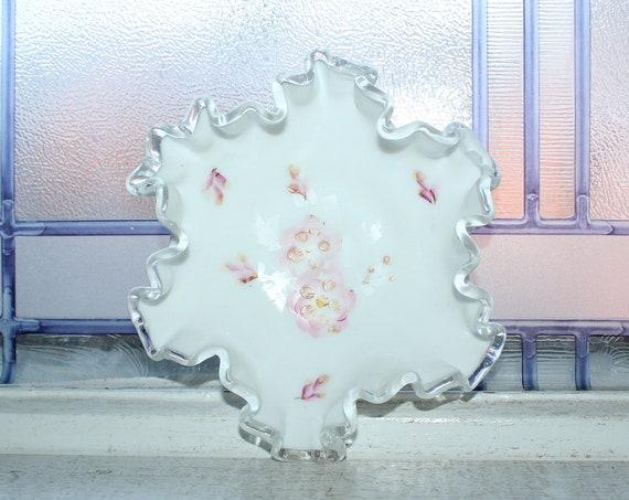 Fenton Glass Silver Crest Bon Bon Dish with Pink Flowers Vintage 1950s