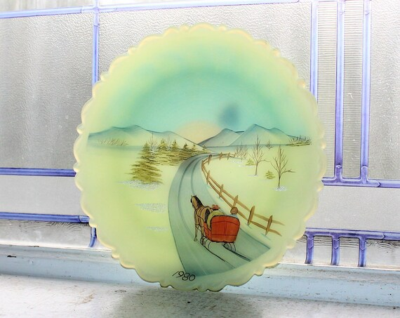 Vintage Fenton Glass Yellow Collector Plate Hand Painted Winter Scene