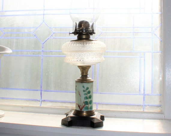 """Antique 1800s Victorian Oil Lamp with Glass Chimney 20"""""""