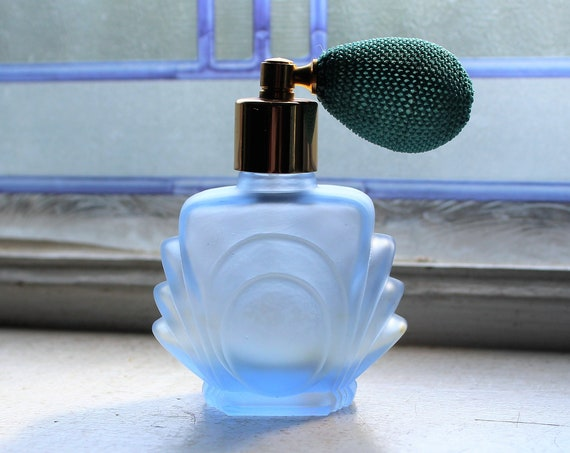 Vintage Blue Frosted Glass Perfume Bottle Atomizer