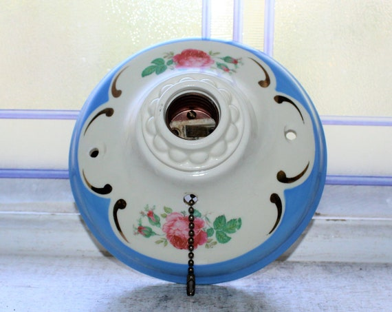 Vintage Porcelier Ceiling Light Flush Mount Blue & White Floral