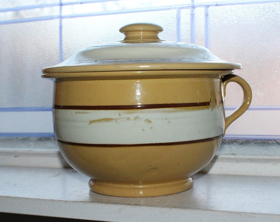 Antique Striped Yellowware Chamber Pot 1800s Stoneware