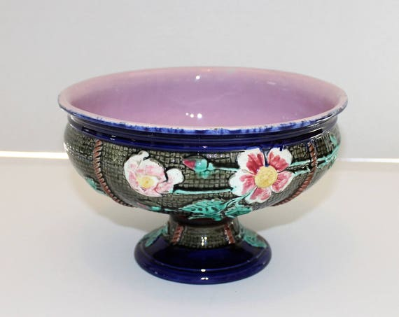 Antique Majolica Compote Floral and Cobalt Blue