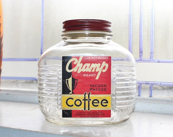 Vintage Champ Coffee Jar 1950s Mid Century Kitchen Decor 1 Lb. Size