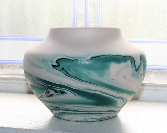 Vintage Nemadji Pottery Vase Bowl Teal Swirls Southwestern Decor