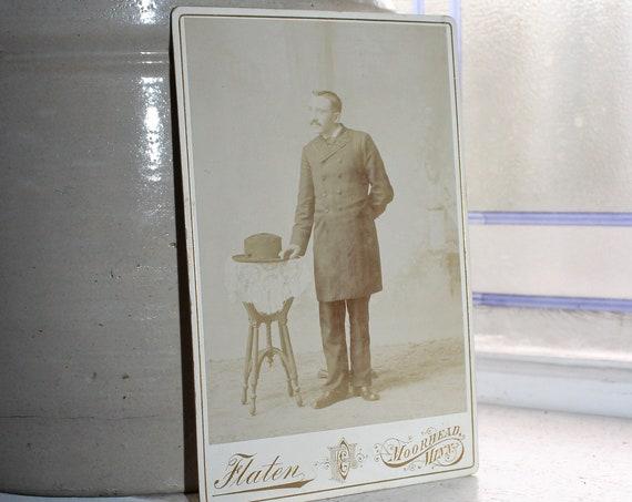 Vintage Cabinet Card Photograph Edwardian Gentleman with Hat