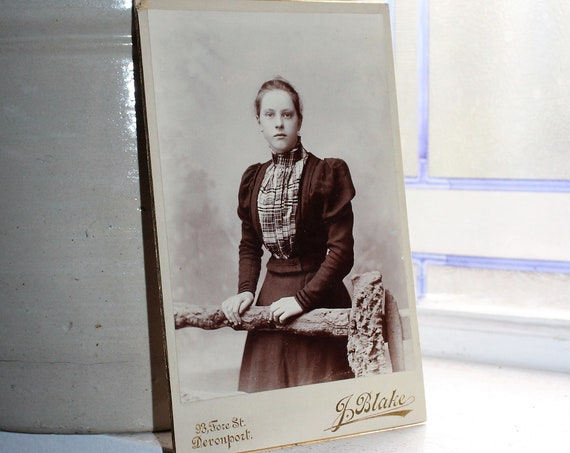Vintage Cabinet Card Photograph Victorian Woman By Fence