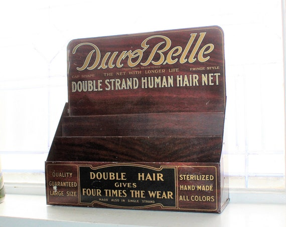 Large Duro Belle Hair Net Display Cabinet Vintage 1940s General Store