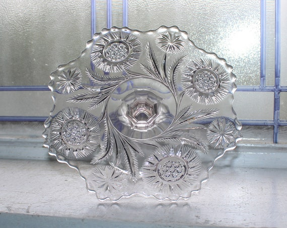 Small Vintage Glass Cake Stand Dessert or Cupcake Stand EAPG