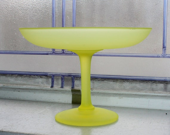 Tiffin Vaseline Glass Compote Candy Dish Vintage Yellow Satin Glass