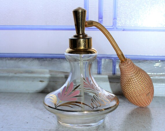 Vintage Painted Glass Perfume Bottle Atomizer