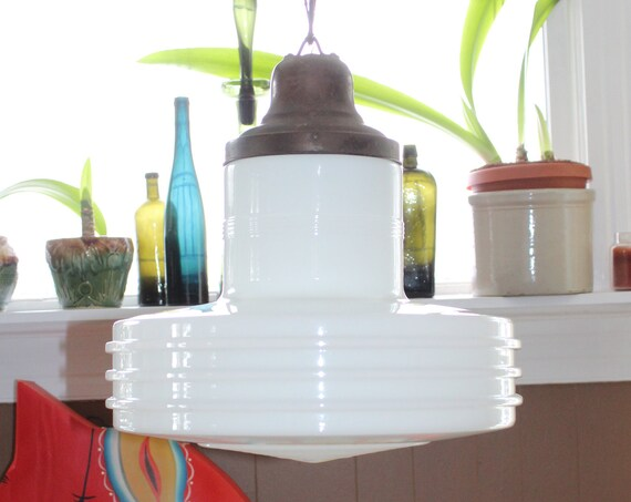 "Large Vintage Art Deco Hanging Light Fixture Pendant 1920s 14"" Shade"