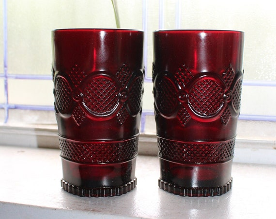2 Ruby Red Avon Cape Cod Tumblers Tall Beverage Glass Fostoria & Box